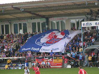 1. FFC Turbine Potsdam - Turbine flag at Karl-Liebknecht-Stadion
