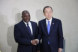 UN Secretary General Mr Ban ki Moon in a pose with President Joseph Kabila Kabange of DRC. (25177330701)