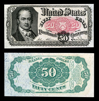 William H. Crawford - Crawford depicted on United States fractional currency