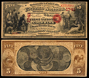 National gold bank note - Image: US NBN CA San Francisco 1741 1870 5 6758 B