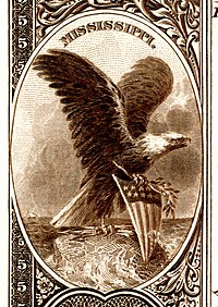 Mississippi state coat of arms from the reverse of the National Bank Note Series 1882BB