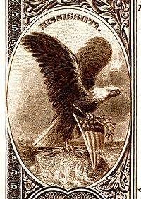 Mississippi stemma nazionale dal retro della banconota Banca nazionale Serie 1882BB