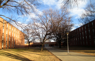 University of South Dakota - North Complex residence halls Olson (left) and Micklesen (right)