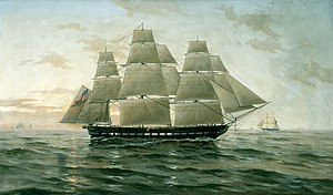 Painting of the USS Chesapeake at sea