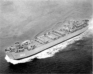 USS Hampden County (LST-803) underway, date and place unknown.