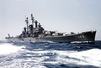 USS Newport News (CA-148) - Newport News during operations in the Mediterranean in 1957.