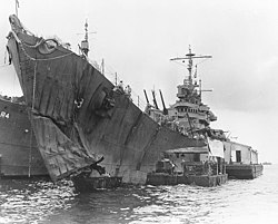 USS St. Louis (CL-49) at Tulagi, after she was torpedoed in the Battle of Kolombangara, 20 July 1943 (80-G-259410).jpg