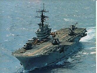 Aircraft carrier - USS Tripoli, a U.S. Navy Iwo Jima-class helicopter carrier