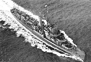 USS Weber (DE-675) underway at sea in September 1943