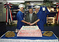 US Navy 020827-N-3275N-001 SECDEF cuts cake aboard USS Constellation.jpg