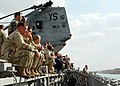 US Navy 030204-N-2972R-222 Marines and Sailors watch the view as the ship transits through the Suez Canal.jpg