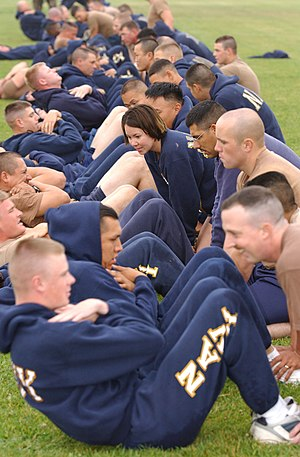 Sit-up - Seabees conduct their sit-up portion of the Navy Physical Readiness Test