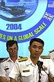 US Navy 040629-N-6811L-046 Commander, Escort Flotilla Four, Rear Adm. Takanobu Sasaki, responds to media queries.jpg