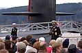 US Navy 041020-N-6497N-087 Commander, Submarine Group Nine, Rear Adm. Melvin G. Williams, Jr., officially welcomes the Ohio-class fleet ballistic missile submarine USS Nebraska (SSBN 739) and her crew to her new home port of Na.jpg