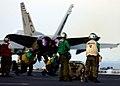 US Navy 041130-N-4953E-001 An F-A-18A Hornet launches in afterburner from the flight deck of the Nimitz-class aircraft carrier USS Harry S. Truman (CVN 75).jpg
