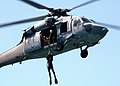 US Navy 050819-N-0716S-008 U.S. Navy Petty Officer Keith Lowe, assigned to Explosive Ordnance Disposal Mobile Unit Three (EODMU-3), Detachment 7, is hoisted down from a MH-60S Seahawk helicopter during training operations.jpg