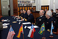 US Navy 070502-N-8861F-013 Argentina Surface Fleet Commander, Adm. Antonio Torres, sits with partner nations in a news conference.jpg