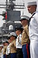US Navy 070523-N-2984R-003 Sailors, Marines and Sea Cadets aboard amphibious assault ship USS Wasp (LHD 1) man the rails as the ship makes her way into New York City.jpg