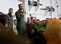 US Navy 070801-N-7981E-161 Commander, Carrier Strike Group (CSG) 9, Rear Adm. Scott Van Buskirk addresses members of Carrier Air Wing (CVW) 2 during an admiral's call held in the hangar bay of Nimitz-class aircraft carrier USS.jpg