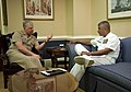 US Navy 080626-N-8273J-004 Chief of Naval Operations (CNO) Adm. Gary Roughead speaks with Master Chief Petty Officer of the Navy (MCPON) Joe R. Campa Jr.jpg