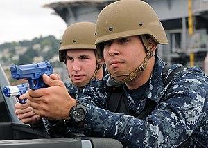 Lightweight Helmet - U.S. Navy sailors in 2011 wearing LWH helmets