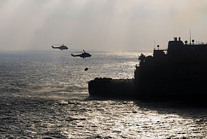 US Navy 120104-N-UE260-039 Two AS332 Super Puma helicopters assigned to the Military Sealift Command dry cargo and ammunition ship USNS Carl Brashe.jpg