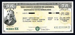 U.S. savings bonds - A $75 U.S. savings bond, Series EE