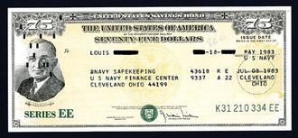 United States Savings Bonds - A $75 U.S. savings bond, Series EE