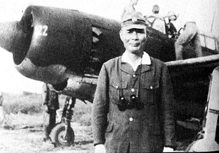 Ugaki, shortly before taking off from a D4Y3 to participate in one of the final kamikaze strikes, 15 August 1945 Ugaki Matome final mission.jpg