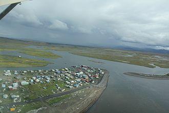 Unalakleet, Alaska - Aerial view of Unalakleet, taken 2010