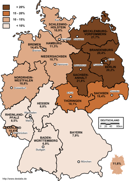 Unemployment rate in Germany in 2003 by states. Unemployment in Germany 2003 by states.png