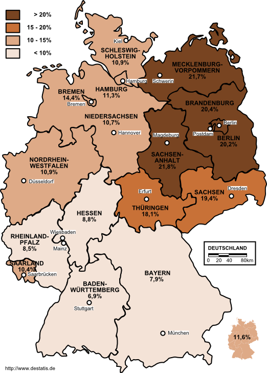 Unemployment in Germany 2003 by states