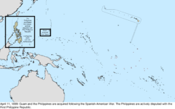 Map of the change to the United States in the Pacific Ocean on April 11, 1899