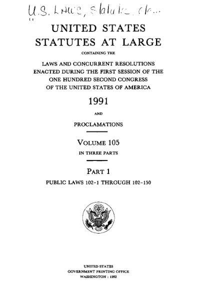 File:United States Statutes at Large Volume 105 Part 1.djvu