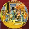 Urbino, francesco xanto avelli, la vestale tucci che porta l'acqua nel setaccio, 1538.JPG