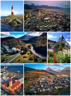 From top, left to right: the Les Eclaireurs Lighthouse, aerial view of the city centre, the Train of the End of the World, Tierra del Fuego Government House, Nuestra Señora de la Merced Church and the city's east coast.