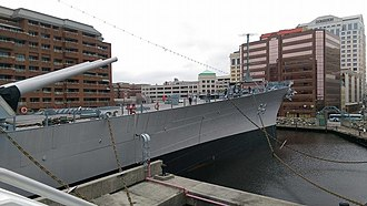 USS Wisconsin (BB-64) - USS Wisconsin docked in Norfolk, Virginia