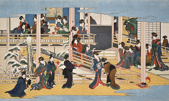 A painting of finely-dressed Japanese women in various buildings in winter