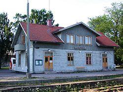 Vadstena railway station Vadstena Sweden.   JPG