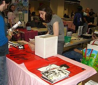 Friends of Lulu - Friends of Lulu President Valerie D'Orazio at the Friends of Lulu table at the Big Apple Con, November 15, 2008.