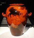 Vase by Albert Robert Valentien, Rookwood Pottery Company, 1893, earthenware with mahogany glaze line - Cincinnati Art Museum - DSC03022.JPG