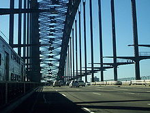 Traffic crossing the Sydney Harbour Bridge on the Bradfield Highway in Sydney. View from car sydney harbour bridge.JPG