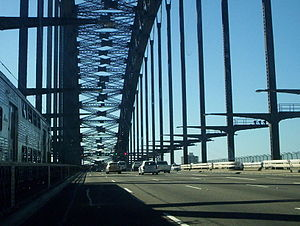 Transport in New South Wales - Traffic crossing the Sydney Harbour Bridge on the Bradfield Highway in Sydney.