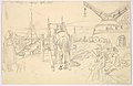 View of the Alter Kranen in Würzburg; verso- Study of Three Soldiers and Two More Figures MET DP827296.jpg