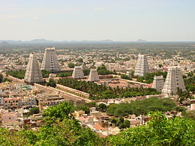 Set of temple towers with urban centre and hill range in the background