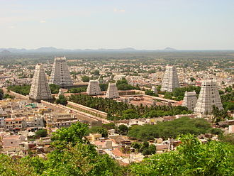 Gopuram - Image: View over Arunchaleshvara Temple from the Red Mountain Tiruvannamalai India 01