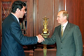 Boris Nemtsov - Boris Nemtsov, leader of the Union of Right Forces parliamentary party, with President Vladimir Putin, July 2000