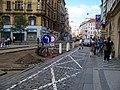 Vodičkova, rekonstrukce tramvajové trati, u Jungmannovy.jpg