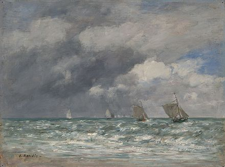 Sailboats at Trouville (1884), Yale University Art Gallery, Collection of Mr. and Mrs. Paul Mellon Voiliers devant Trouville by Eugene Louis Boudin.jpeg