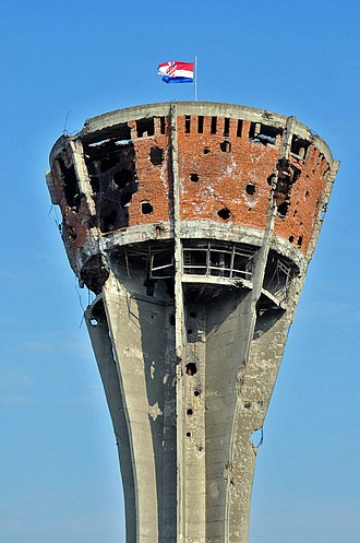 Battle of Vukovar - The Vukovar water tower, 2010. Heavily damaged in the battle, the tower has been preserved as a symbol of the conflict.